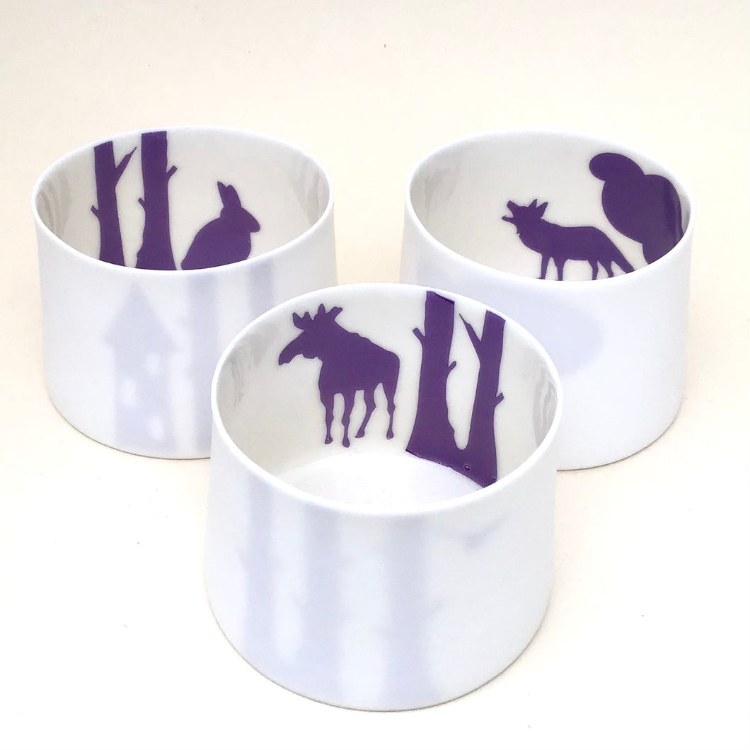 3 Little Tilley tealights, moose, wolf and rabbit, purple