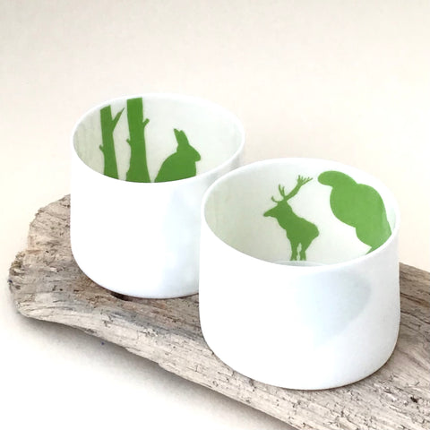 2 Little Tilley tealights green stag and rabbit with house