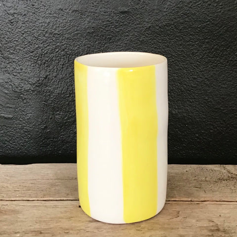 Big stripes vase, yellow