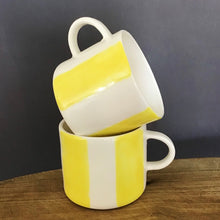 Load image into Gallery viewer, Alberta, light yellow striped cup with a handle, medium size