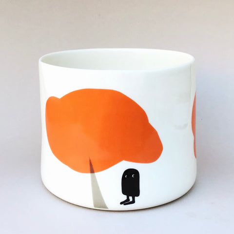 Flower pot, large size, bold orange trees and owl