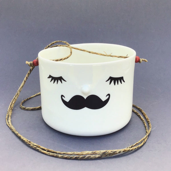 Nosy hanging flower pot, medium size, closed eyes, mustache