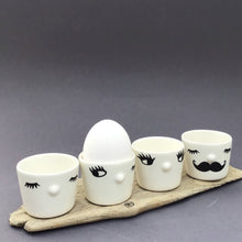 Load image into Gallery viewer, Nosy egg cup, closed eyes, mustache