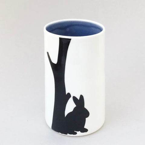 Treena vase, rabbit and house, deep grey inside