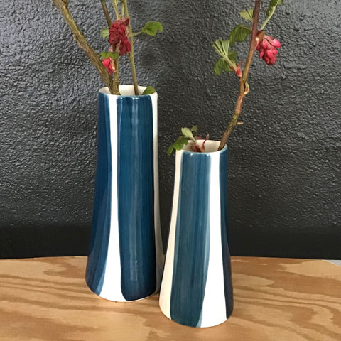 Conical striped vase, a pair, teal blue