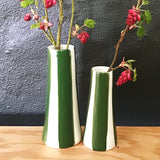 Conical striped vase, a pair, pine green