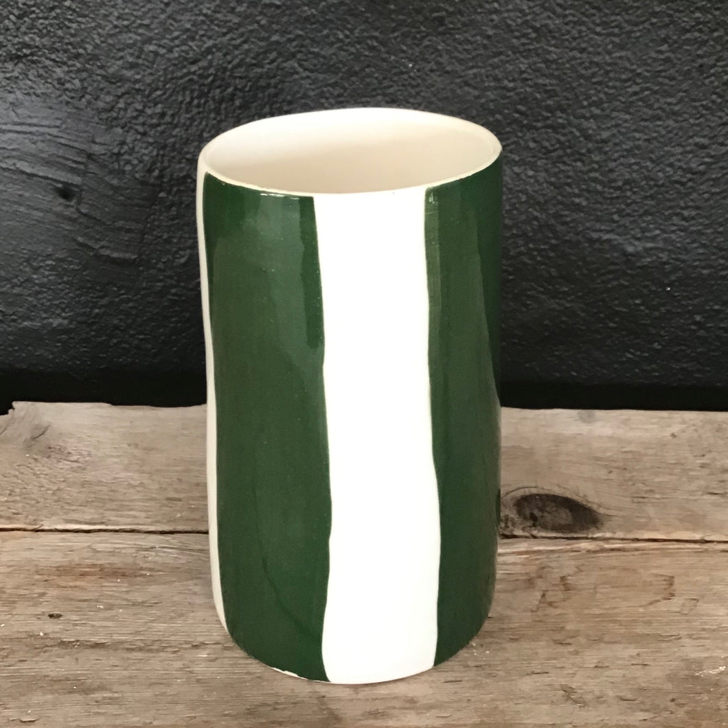 Big stripes vase, pine green