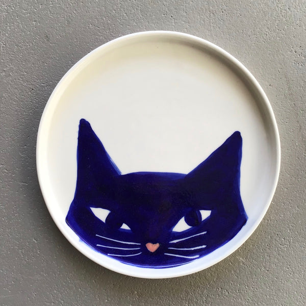 Cat plate, medium, blue