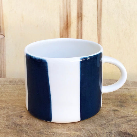 Alberta, teal blue  striped cup with a handle, medium size