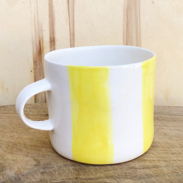 Alberta, light yellow striped cup with a handle,  large size