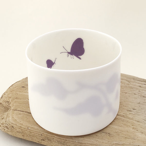 Little Tilley tealight, butterflies and leaves, purple