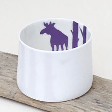 Load image into Gallery viewer, Little Tilley tealight, moose and trees, purple