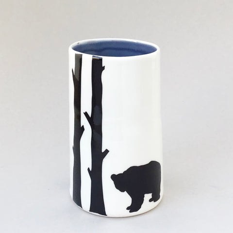 Treena vase, bear, deep grey inside
