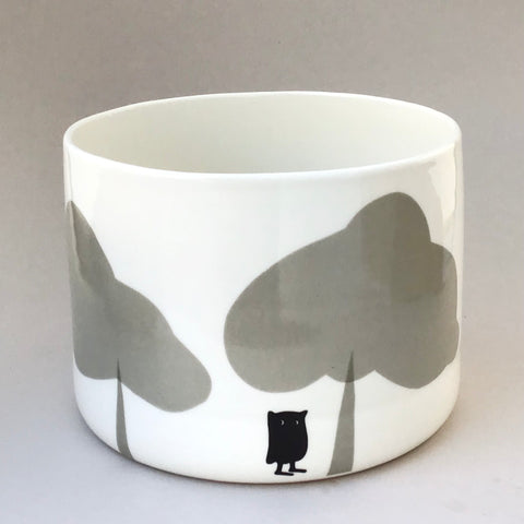 Flower pot, cute owl and grey trees, x-large size