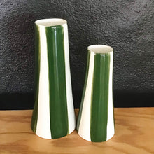 Load image into Gallery viewer, Conical striped vase, a pair, pine green