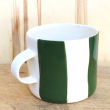 Load image into Gallery viewer, Alberta, cup with a handle, dark green stripes, large size