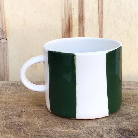 Alberta, dark green striped cup with a handle, medium size