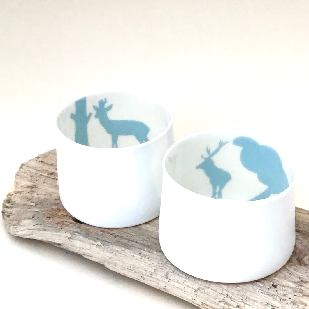 2 Little Tilley tealights blue deer and stag