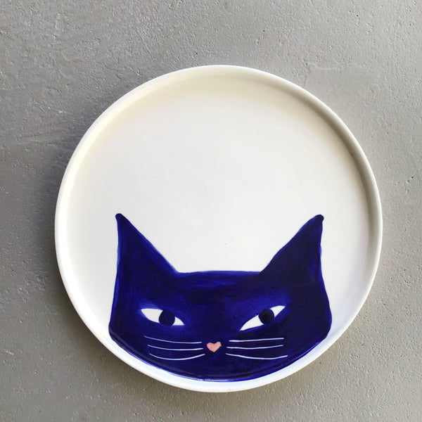 Cat plate, big, blue