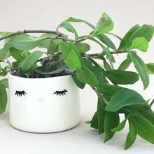 Load image into Gallery viewer, Nosy flower pot, medium size, closed eyes.