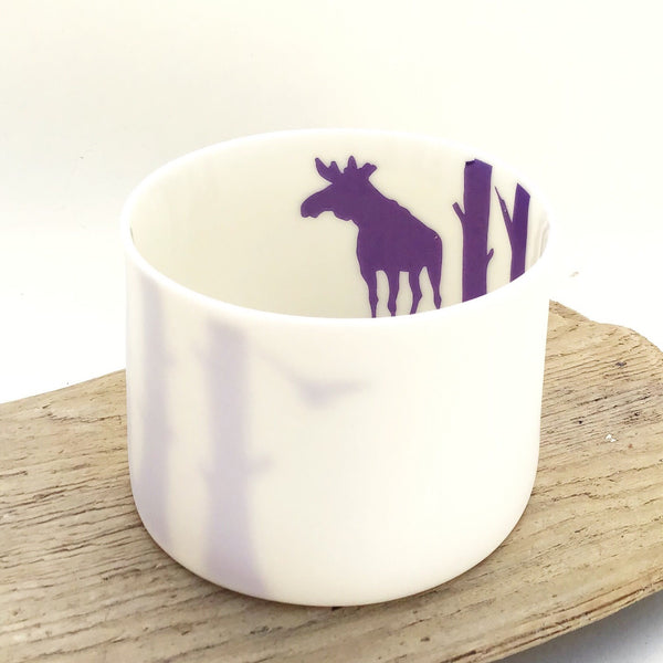 Little Tilley tealight, moose and trees, purple