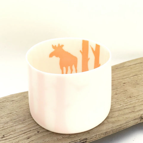 Little Tilley tealight, moose and trees, orange