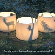 Load image into Gallery viewer, Little Tilley tealight, bold palmtrees and sun
