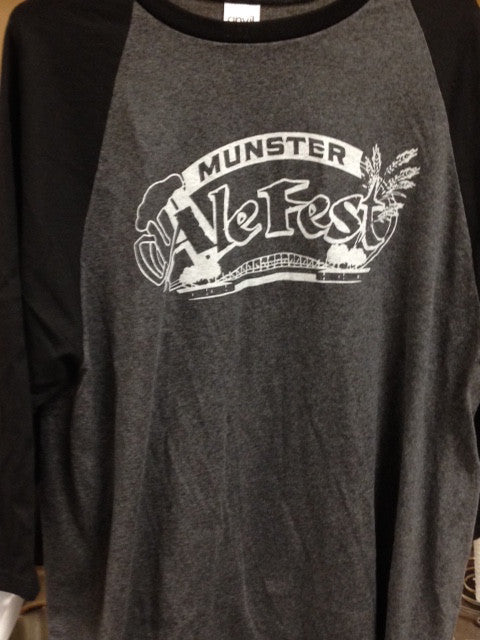 Munster Ale Fest 2014 3/4 sleeve T-shirt Heather Gray w/ Black Sleeves