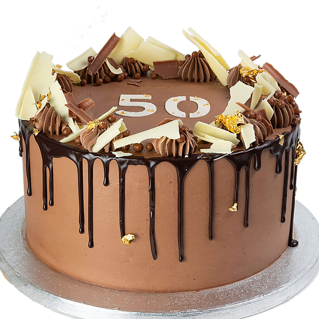 TRIPLE CHOC 50TH BIRTHDAY CAKE