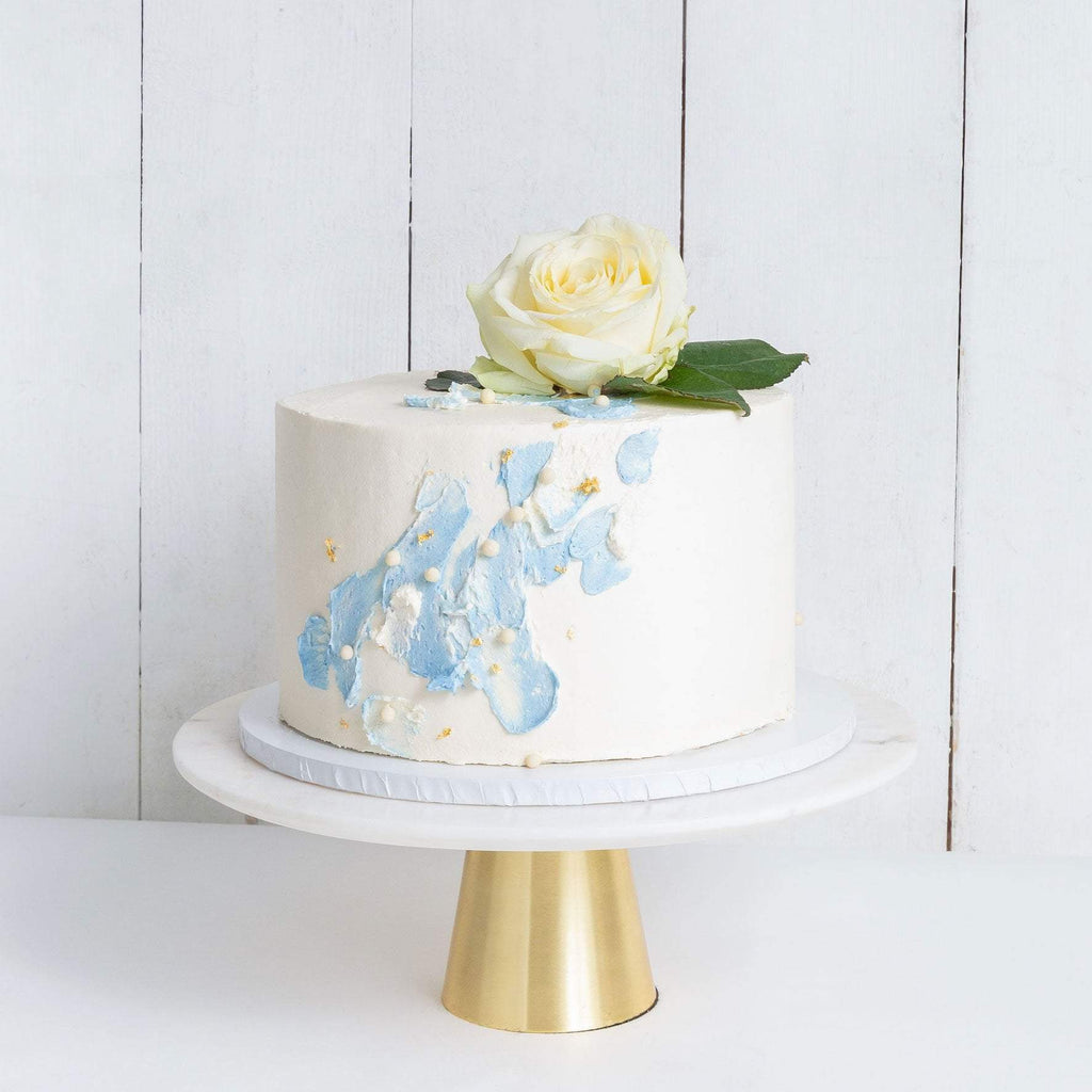 "Cutter & Squidge Weddings Blue - Small 6"" ONE TIER WATERCOLOUR ROSE WEDDING CAKE"