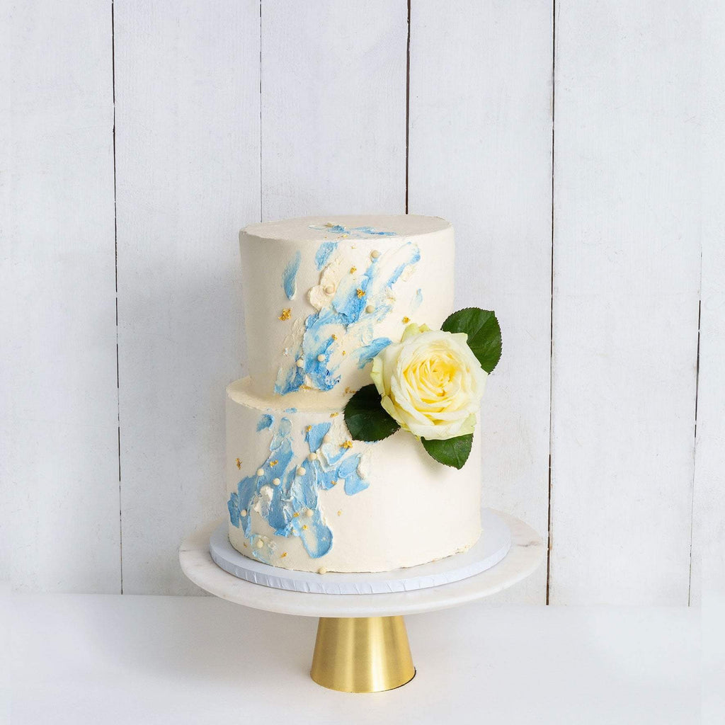 "Cutter & Squidge Weddings Blue - Two Tier (8"", 6"") TWO TIER WATERCOLOUR ROSE WEDDING CAKE"