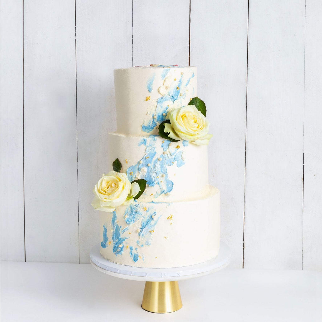 THREE TIER WATERCOLOUR ROSE WEDDING CAKE
