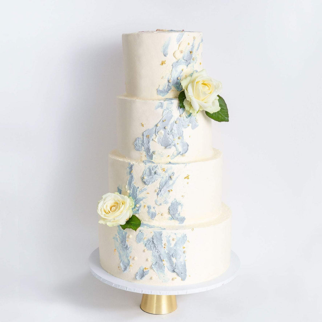 "Cutter & Squidge Weddings Blue - Four Tier (12"", 10"", 8"", 6"") FOUR TIER WATERCOLOUR ROSE WEDDING CAKE"