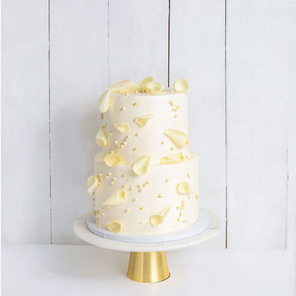 TWO TIER PETALS AND GOLD WEDDING CAKE