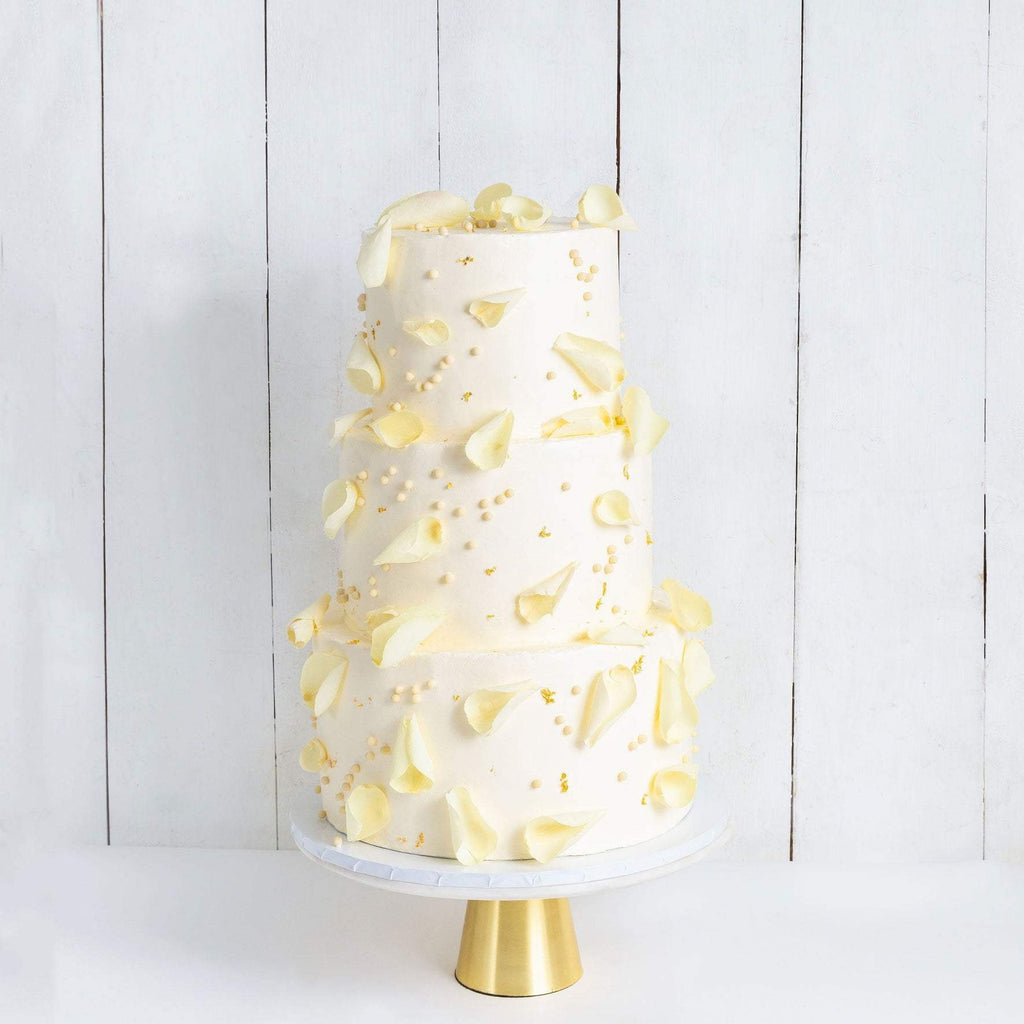 "Cutter & Squidge Weddings Three Tier (10"", 8"", 6"") THREE TIER PETALS AND GOLD WEDDING CAKE"