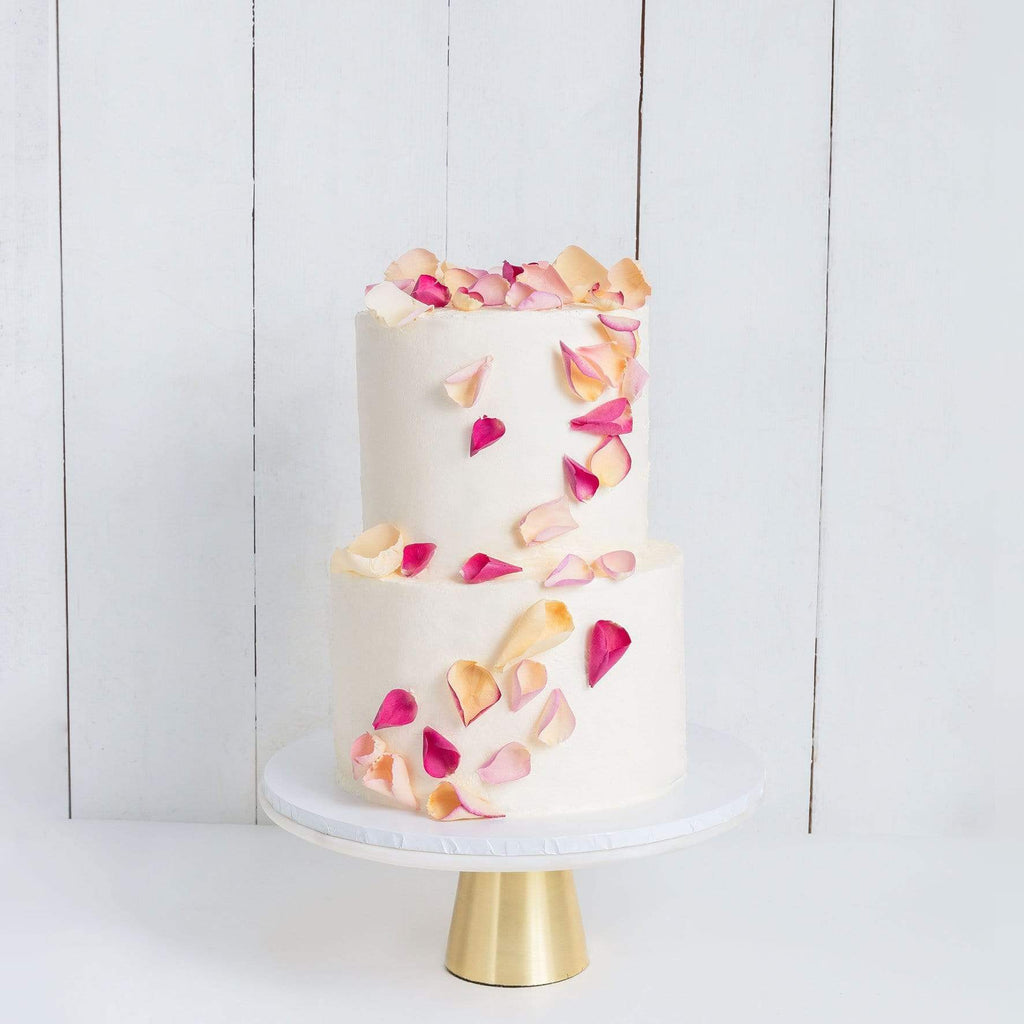 TWO TIER PETALS RAIN WEDDING CAKE