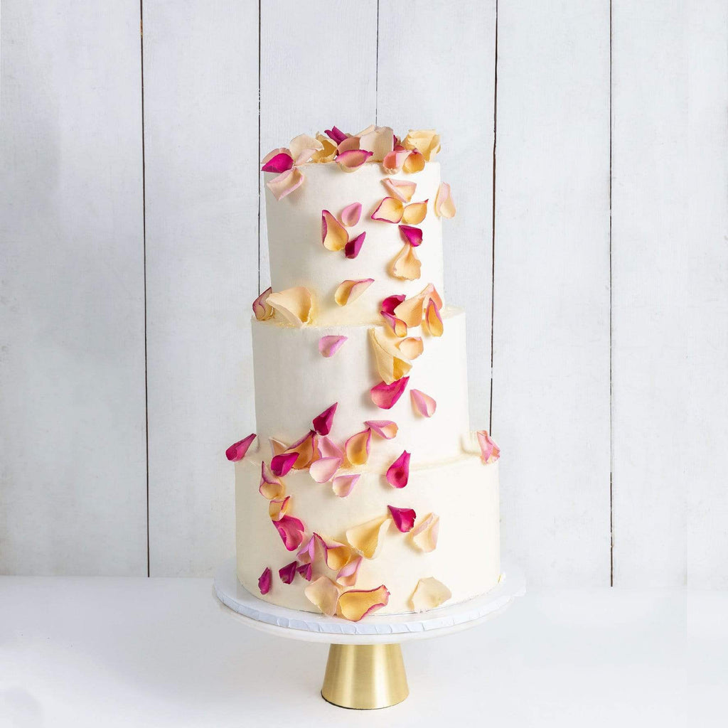 THREE TIER PETALS RAIN WEDDING CAKE