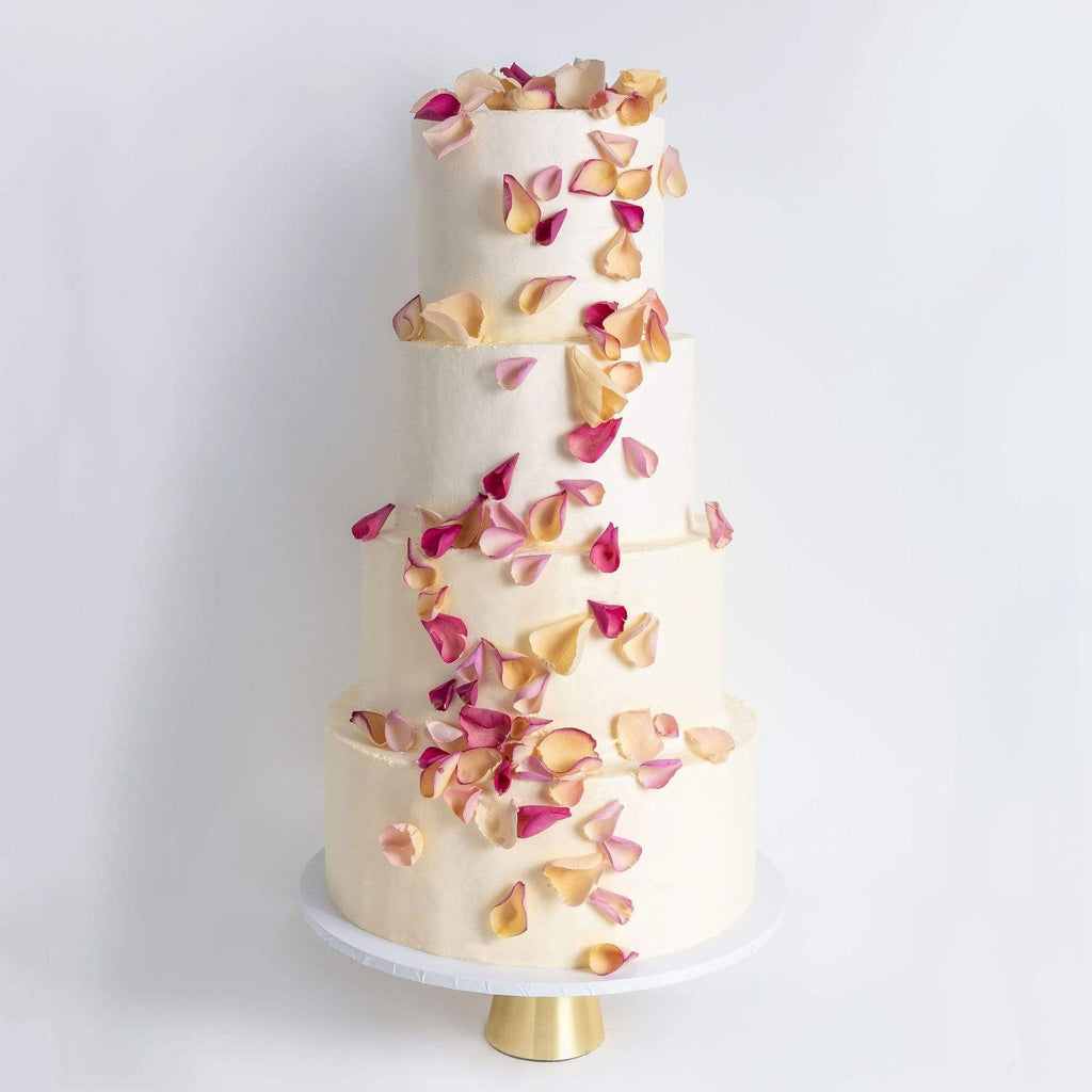 FOUR TIER PETALS RAIN WEDDING CAKE