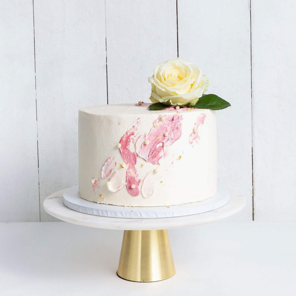 "Cutter & Squidge Weddings Pink - Medium 8"" ONE TIER WATERCOLOUR ROSE WEDDING CAKE"