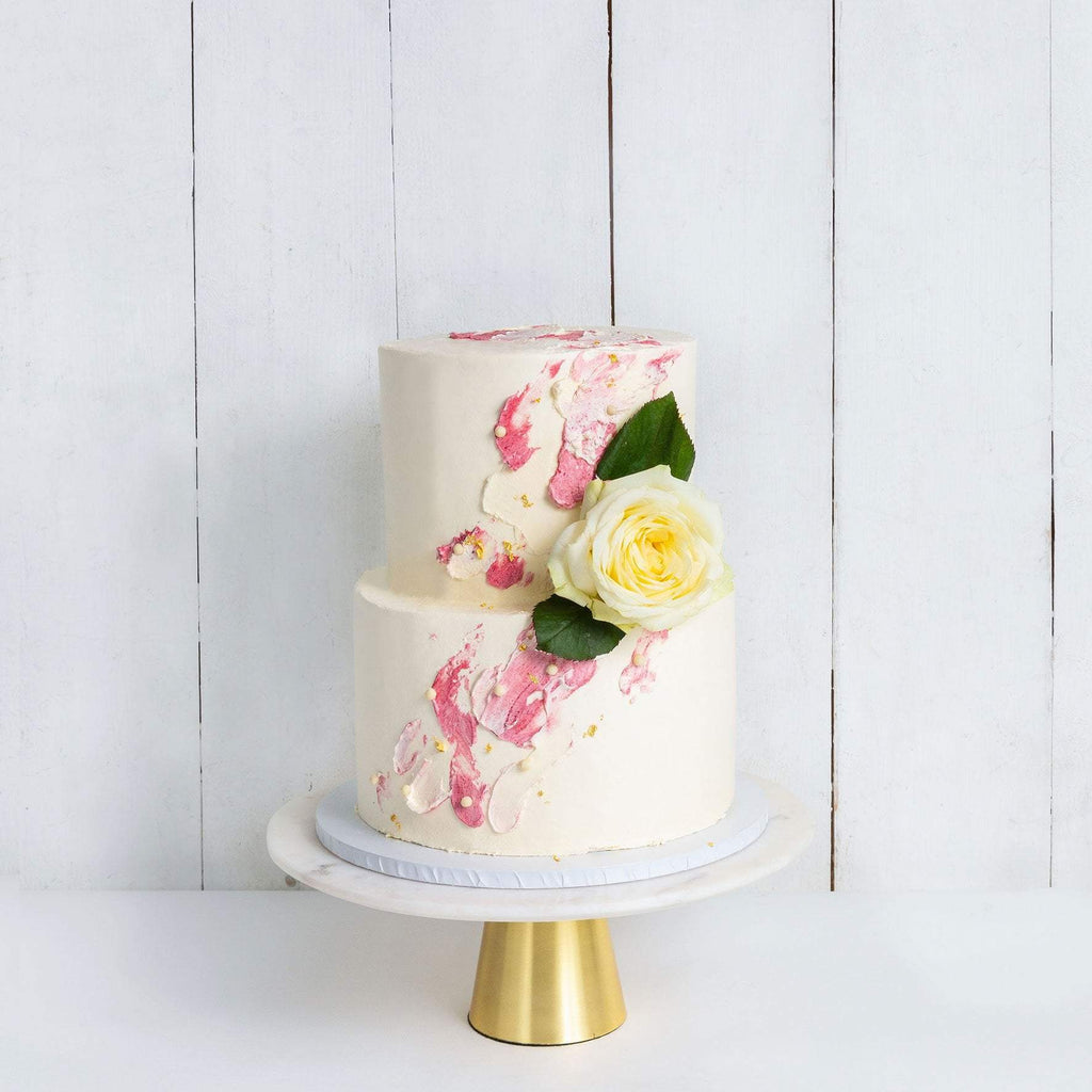 "Cutter & Squidge Weddings Pink - Two Tier (8"", 6"") TWO TIER WATERCOLOUR ROSE WEDDING CAKE"