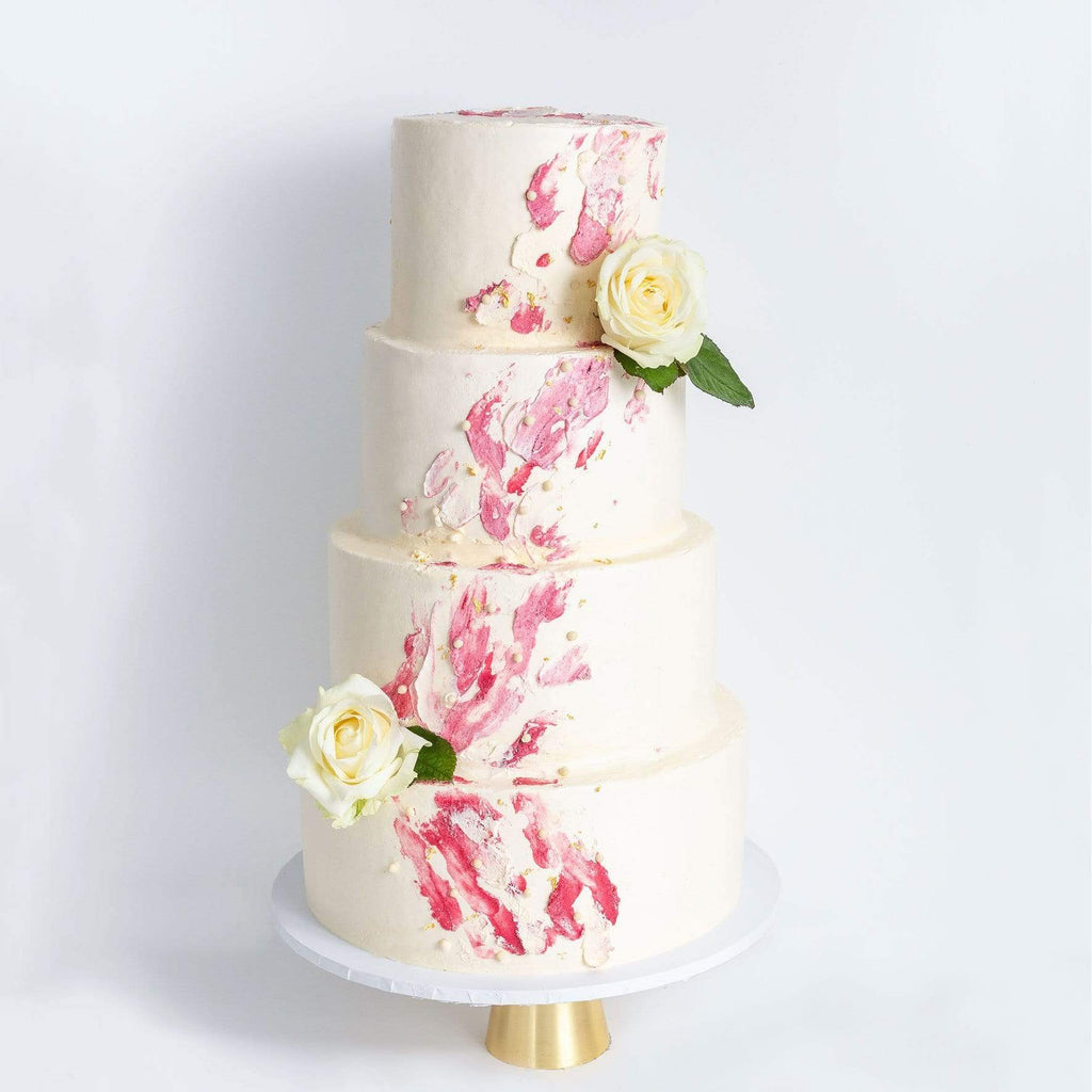 "Cutter & Squidge Weddings Pink - Four Tier (12"", 10"", 8"", 6"") FOUR TIER WATERCOLOUR ROSE WEDDING CAKE"