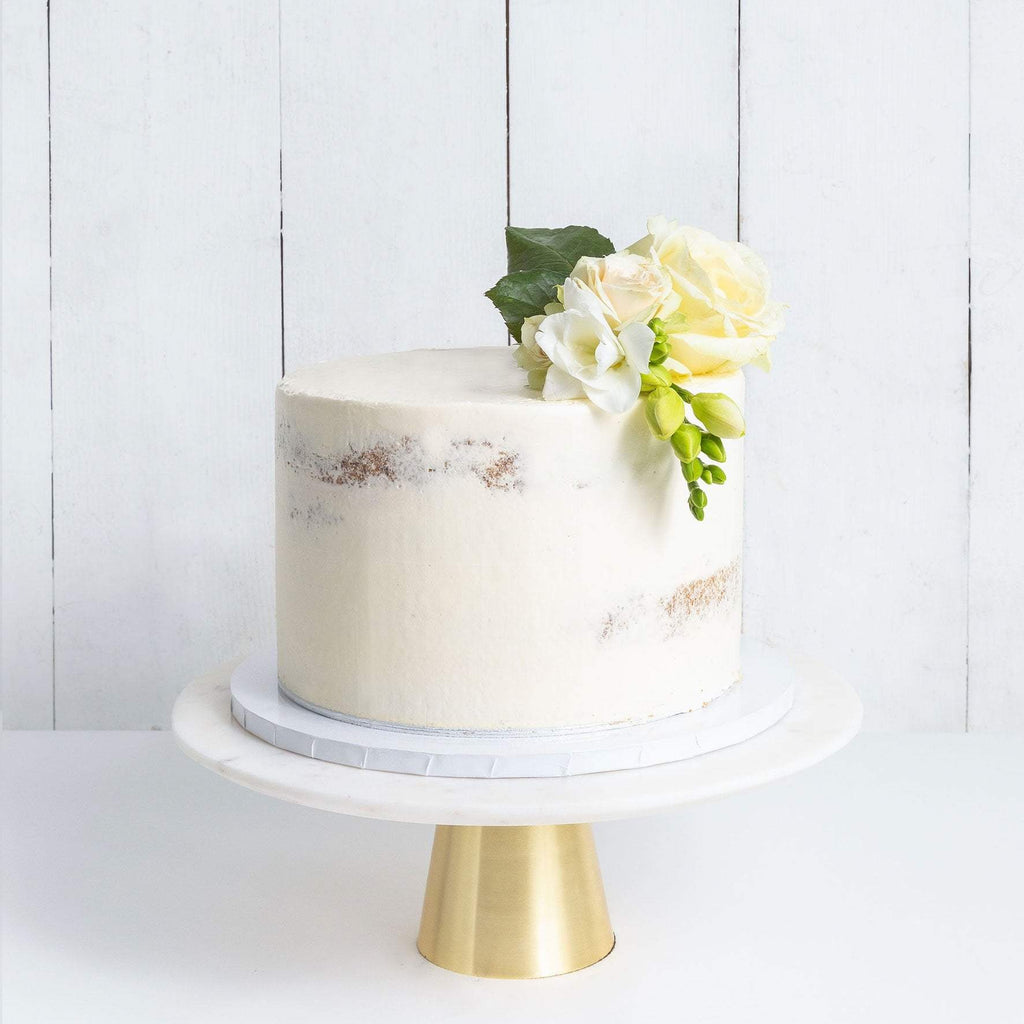 ONE TIER DECORATED NAKED WEDDING CAKE