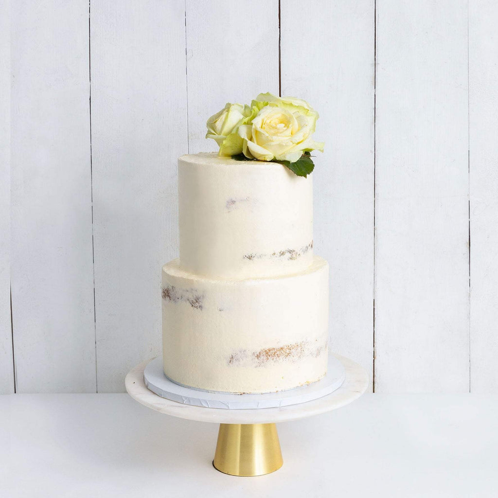 "Cutter & Squidge Weddings Classic White Rose - Two Tier (8"", 6"") TWO TIER DECORATED NAKED WEDDING CAKE"