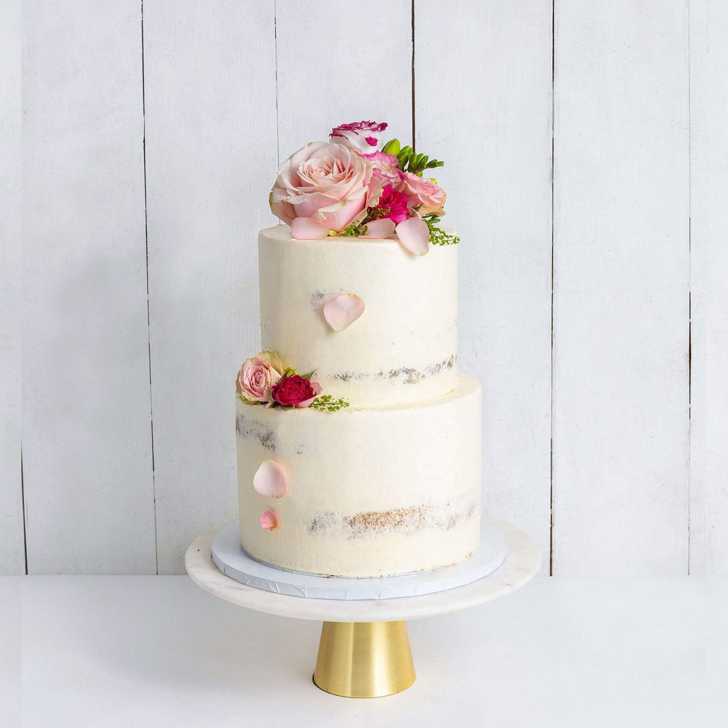 "Cutter & Squidge Weddings Pink & Petals - Two Tier (8"", 6"") TWO TIER DECORATED NAKED WEDDING CAKE"