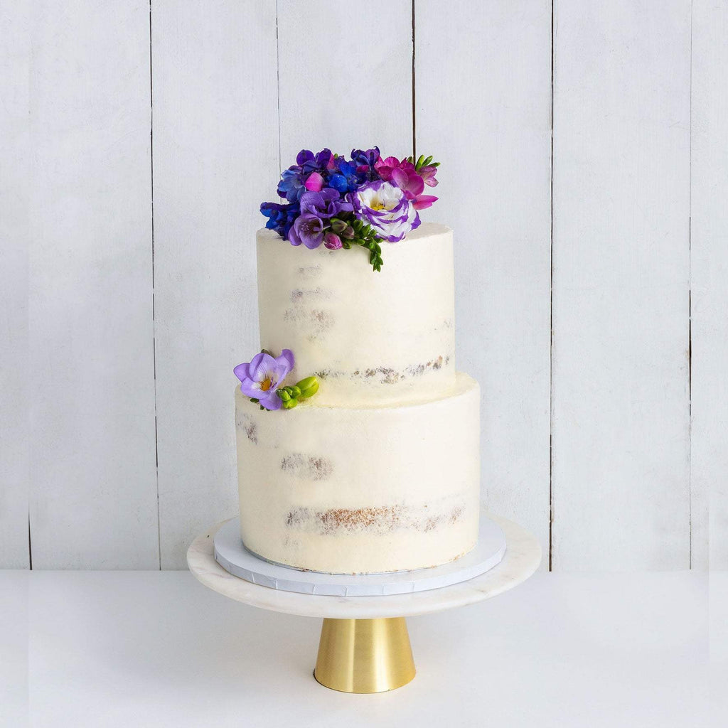 "Cutter & Squidge Weddings Purple Floral - Two Tier (8"", 6"") TWO TIER DECORATED NAKED WEDDING CAKE"