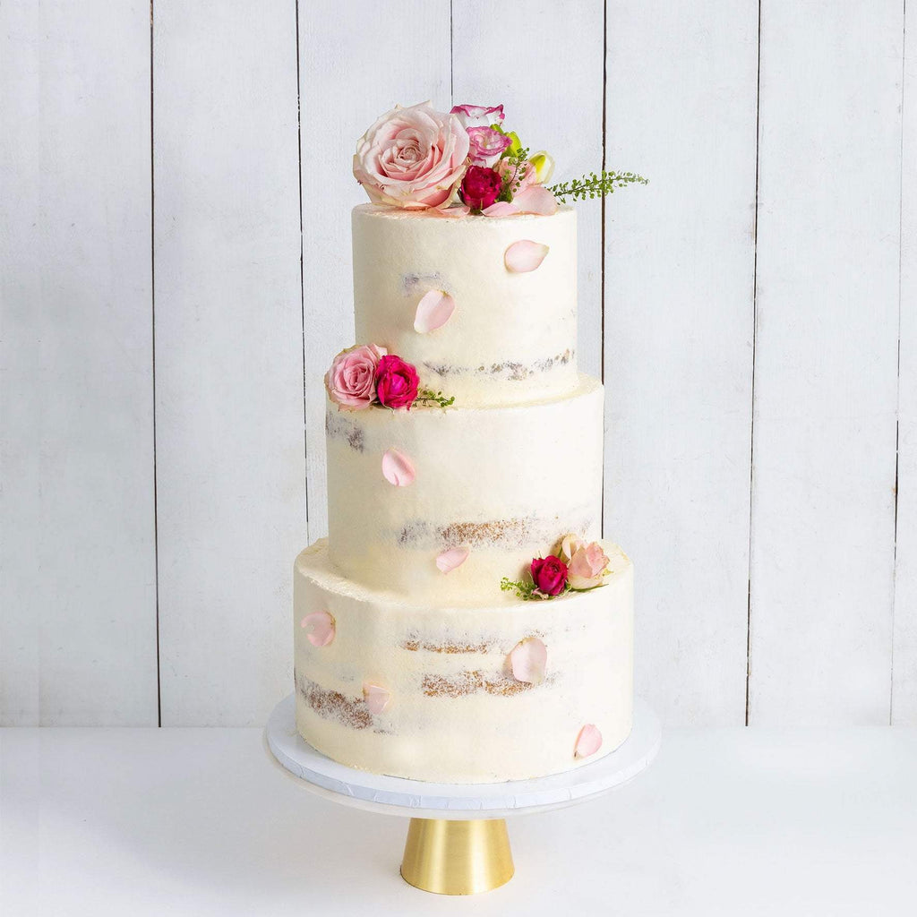 THREE TIER DECORATED NAKED WEDDING CAKE