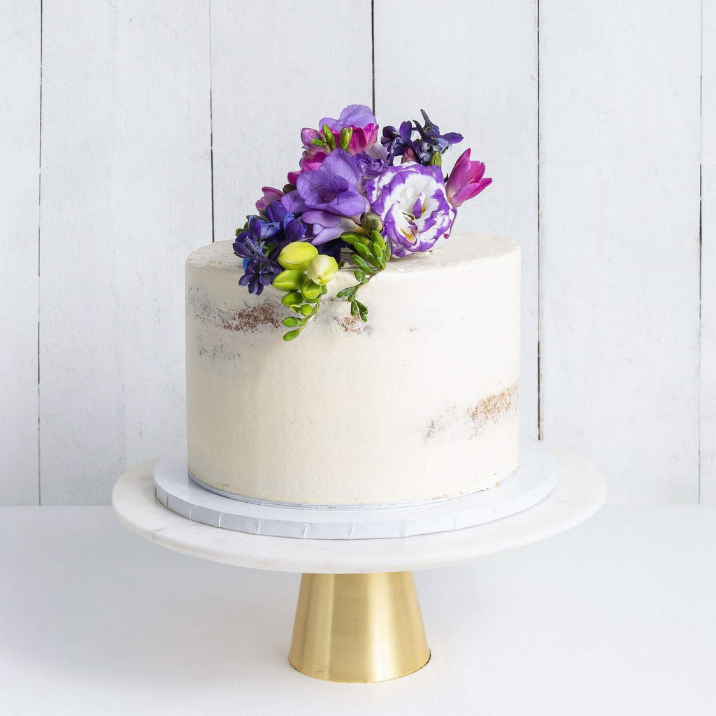 "Cutter & Squidge Weddings Purple Floral - 6"" Small ONE TIER DECORATED NAKED WEDDING CAKE"