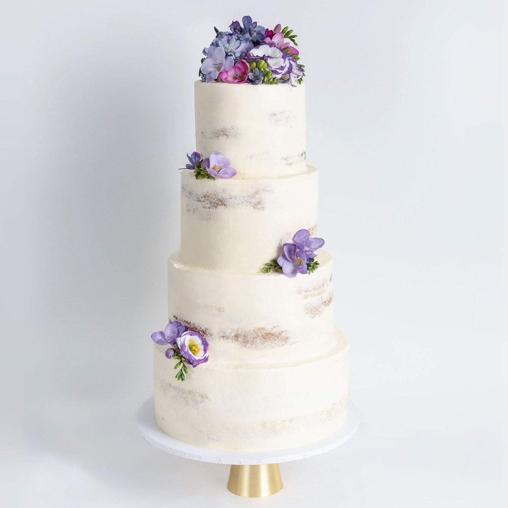 FOUR TIER DECORATED NAKED WEDDING CAKE