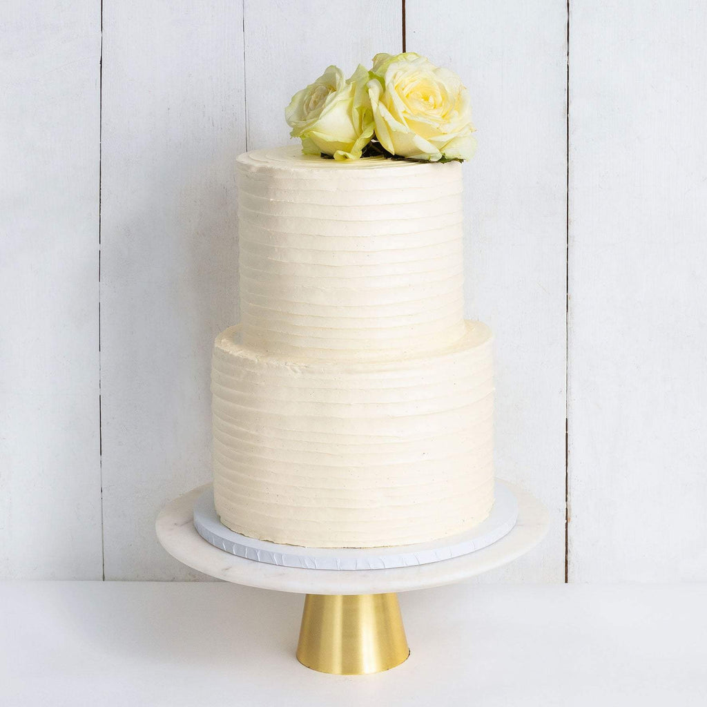 "Cutter & Squidge Weddings Classic White Rose - Two Tier (8"", 6"") TWO TIER FLORAL RUFFLE WEDDING CAKE"