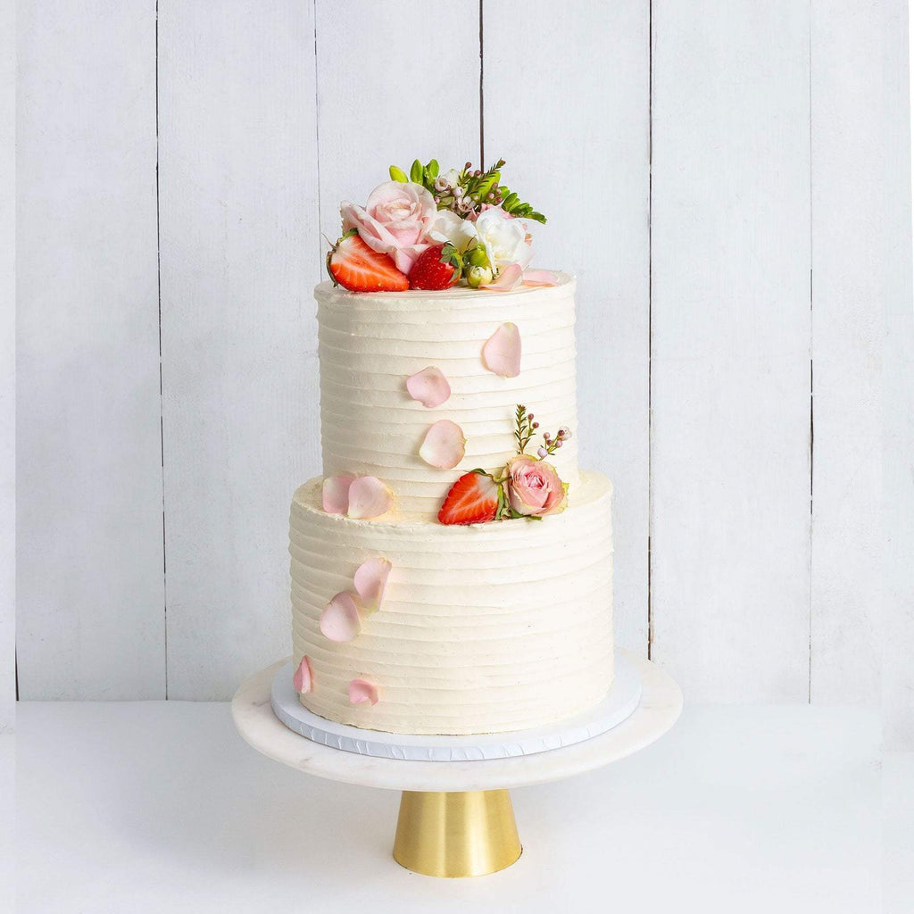 "Cutter & Squidge Weddings Pink & Petals - Two Tier (8"", 6"") TWO TIER FLORAL RUFFLE WEDDING CAKE"